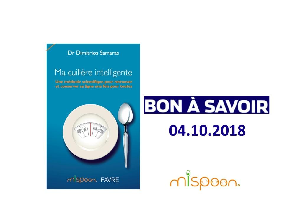 """BON A SAVOIR, Article sur """"Ma Cuillère Intelligente"""", 04.10.2018"""