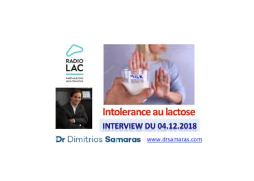 Intolerance au lactose ou allergie au lait? On en parle au Radio Lac, 04.12.2018
