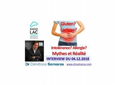 Intolérance ou Allergie au lait? Coeliakie ou Sensibilité au Gluten? Interview, Radio Lac, 04.12.18