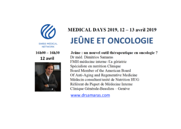 Jeûne et oncologie, Medical Days 2019, Swiss Medical Network