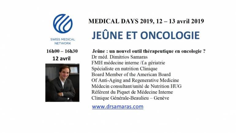 Jeûne et oncologie, Medical Days 2019, Swiss Medical Network